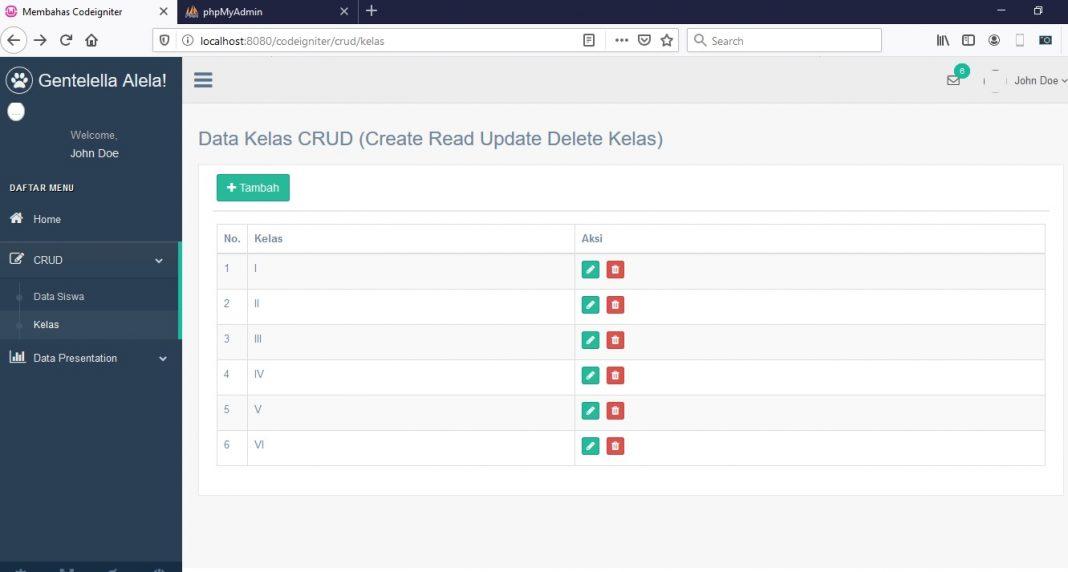 codeigniter crud update dan hapus data