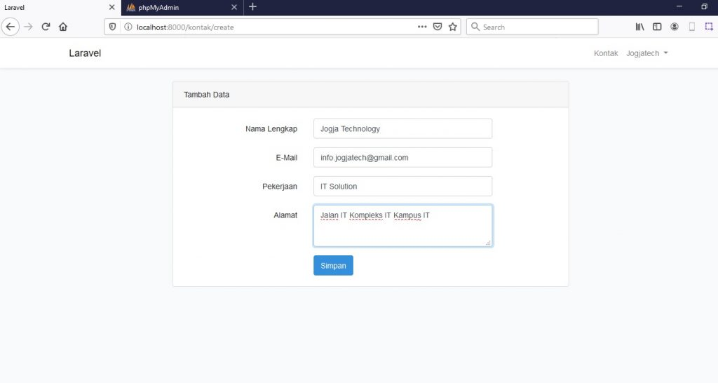 form input data Laravel