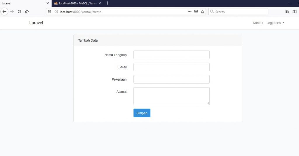 Form input data Laravel