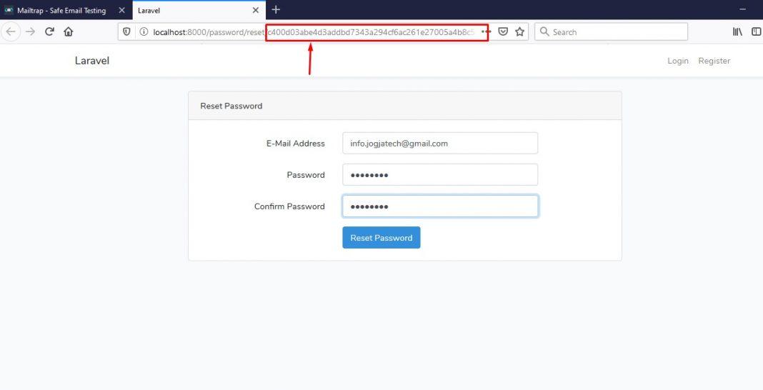 form reset password laravel dan mailtrap