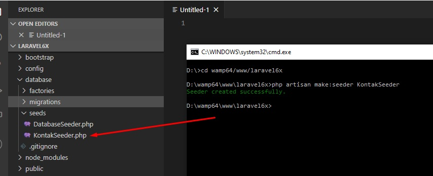 Membuat database seeder Laravel