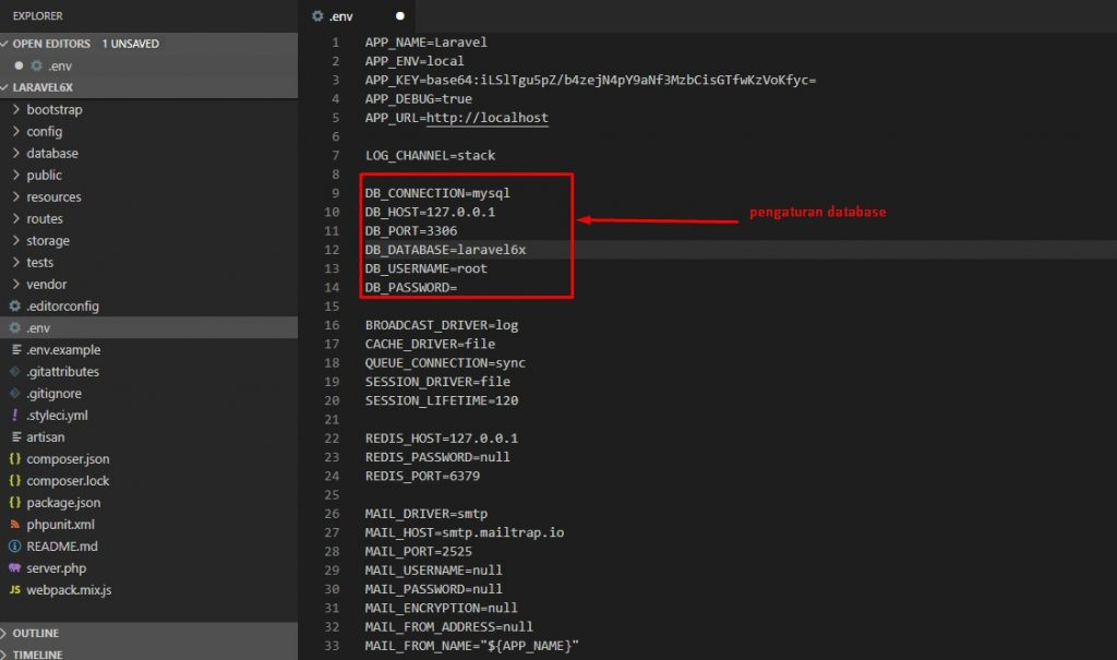 Setting databse Laravel melalui env file