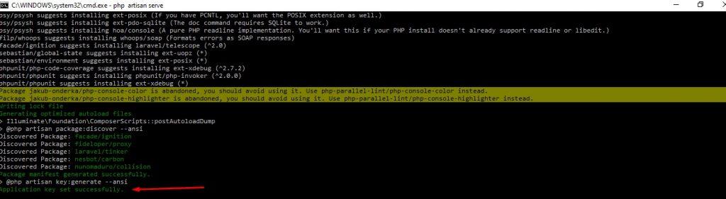 Proses instalasi Laravel selesai