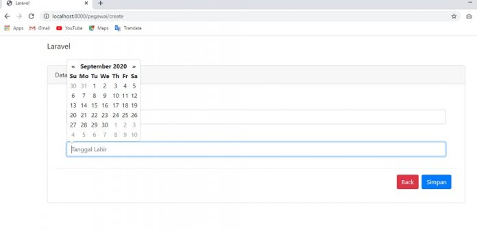 Form create with datepicker