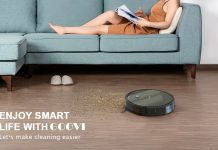 Robot Vacuum, GOOVI 1600PA Robotic Vacuum Cleaner with Self-Charging, 360° Smart Sensor Protectio, Multiple Cleaning Modes Vacuum Best for Pet Hairs, Hard Floor & Medium Carpet