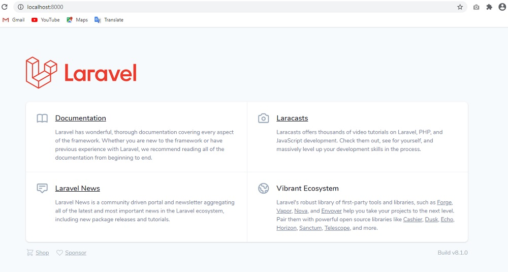 Laravel 8 Welcome Page