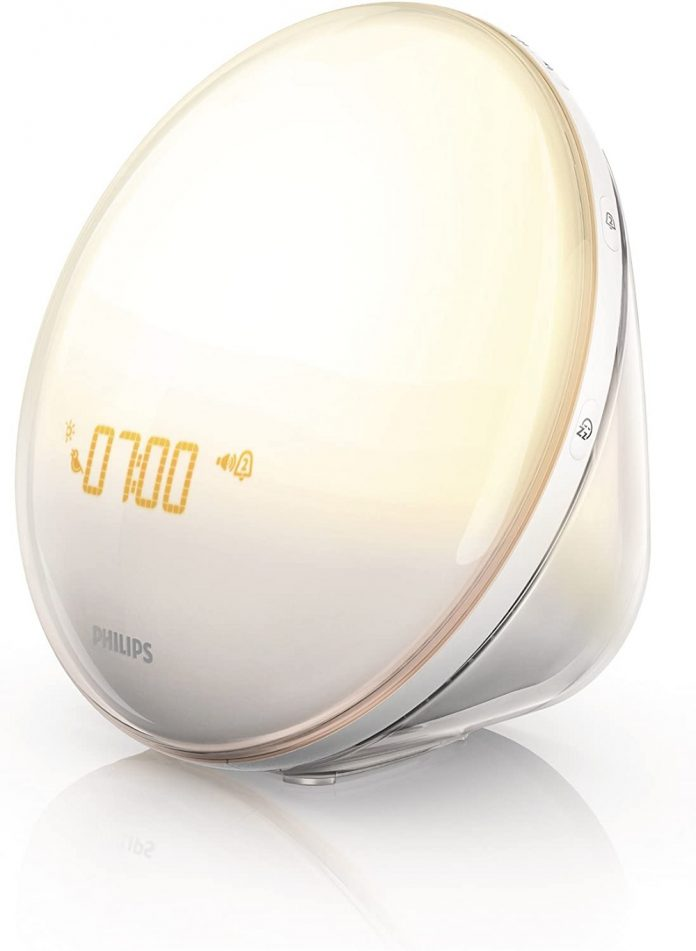 Philips SmartSleep HF3520/60 Wake-Up Light Therapy Alarm Clock with Colored Sunrise Simulation and Sunset Fading Night Light, White