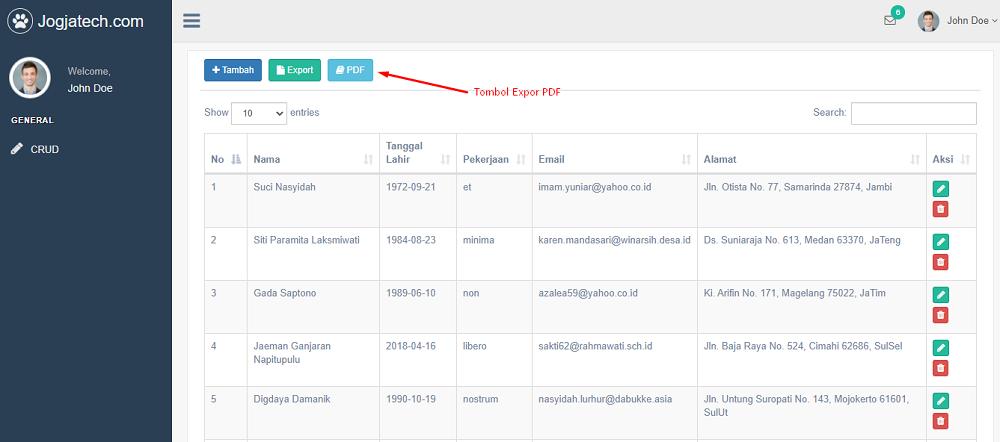 Codeigniter 4 Fitur Tombol Export PDF