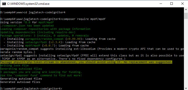 Codeigniter 4 Install composer mPDF