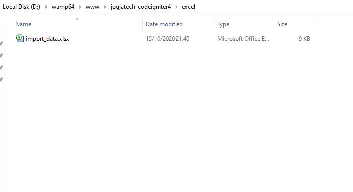 Codeigniter 4 Uploaded File Excel