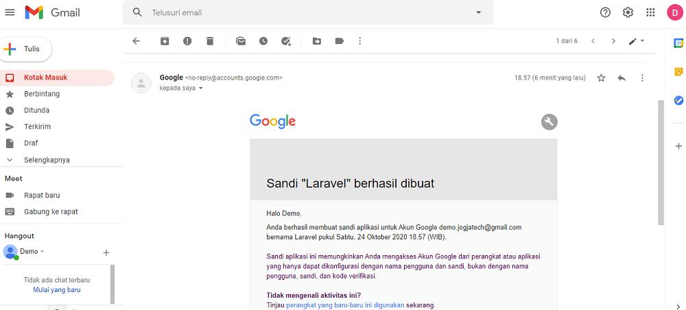 Google Mail Sandi Aplikasi Berhasil Dibuat