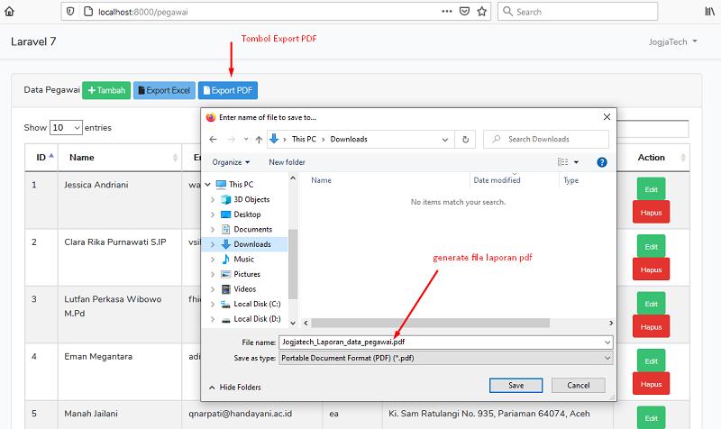 Laravel 7 Export PDF Generate File Laporan PDF