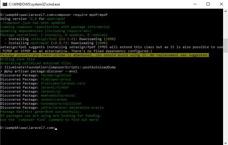 Laravel Export mPDF Composer Install