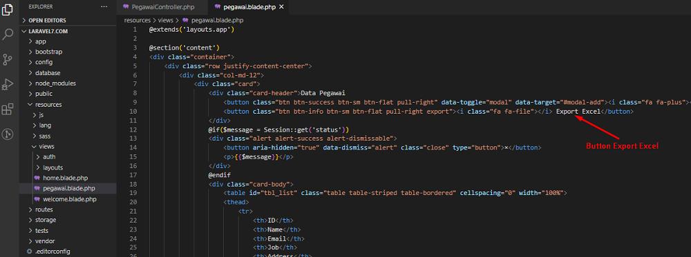 Laravel Laporan Excel Button Export PHP Excel