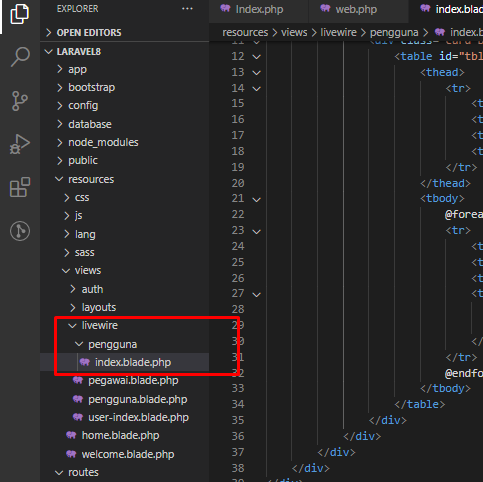 Laravel Livewire Views Components