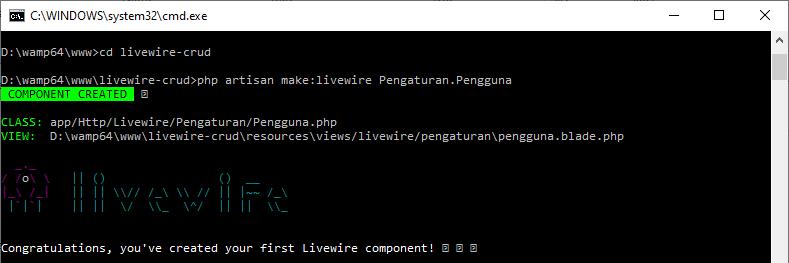 Laravel Livewire CRUD artisan livewire components