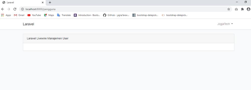 Laravel Livewire Menampilkan Layout Pengaturan
