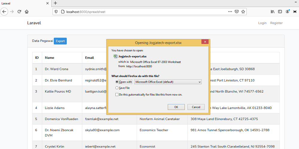 Laravel Report Excel with PhpSpreadsheet