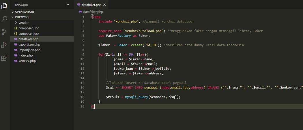 File PHP Penggunaan Library Faker
