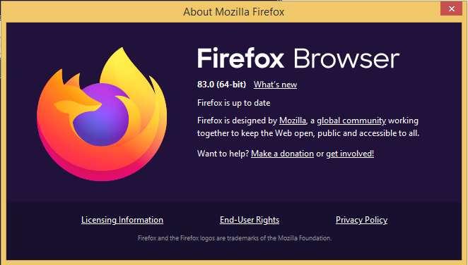 Firefox up to date
