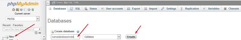 Membuat database baru melalui phpMyAdmin