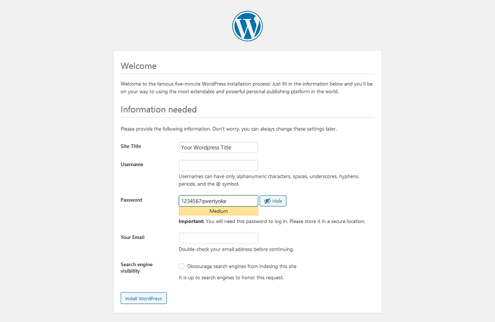 WordPress Installation Setup Title and Password