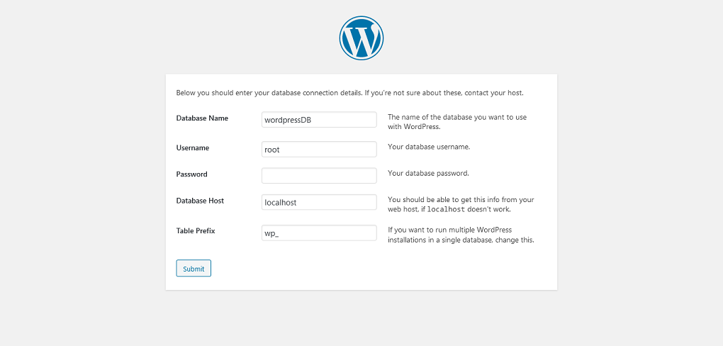 WordPress Setup Configuration Database