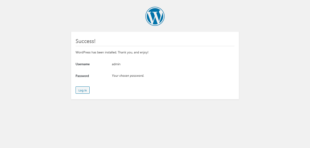 WordPress Success Installation