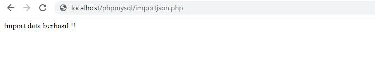 import data json berhasil