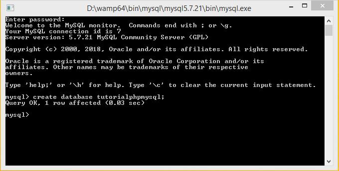 membat database mysql melalui cli