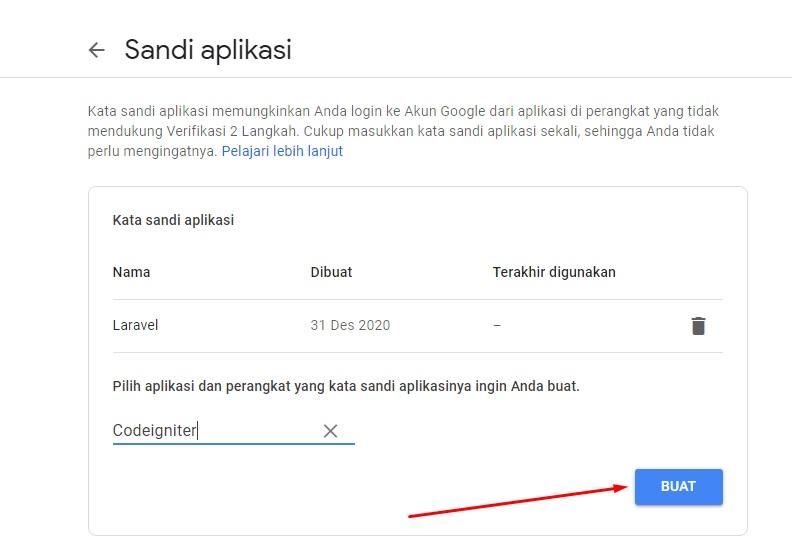 Buat sandi aplikasi akun gmail