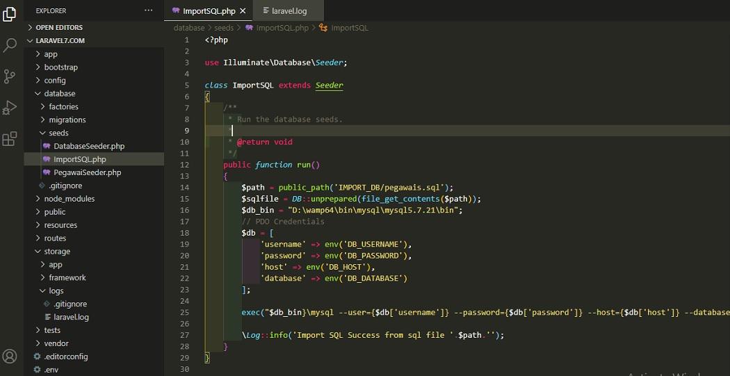 Laravel Seeder Import SQL File