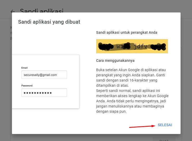 Pembuatan sandi aplikasi akun gmail