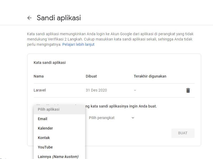 Pengaturan sandi aplikasi di akun gmail