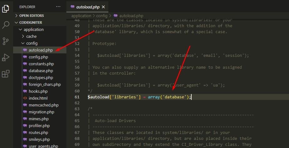 autoload library database codeigniter
