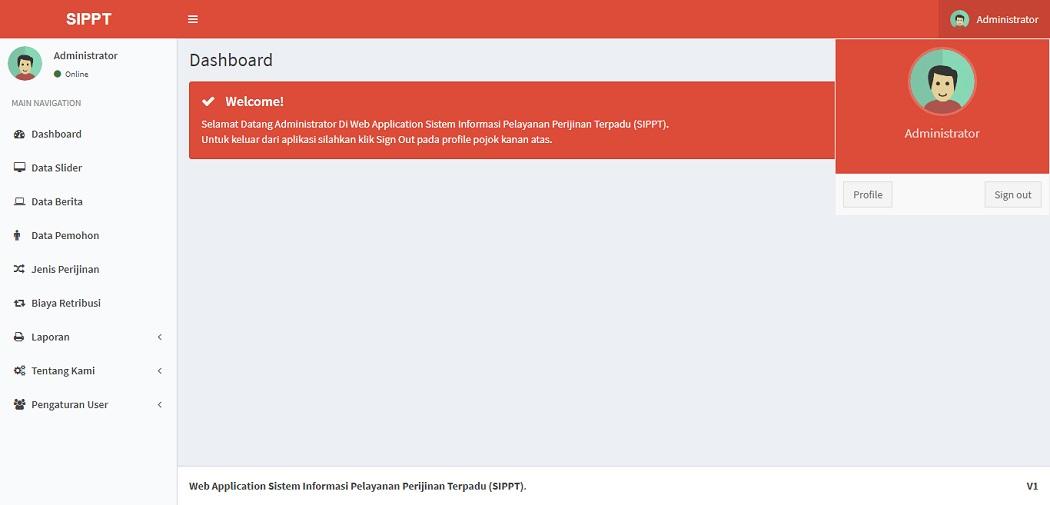 dashboard aplikasi website sistem informasi pelayanan perizinan